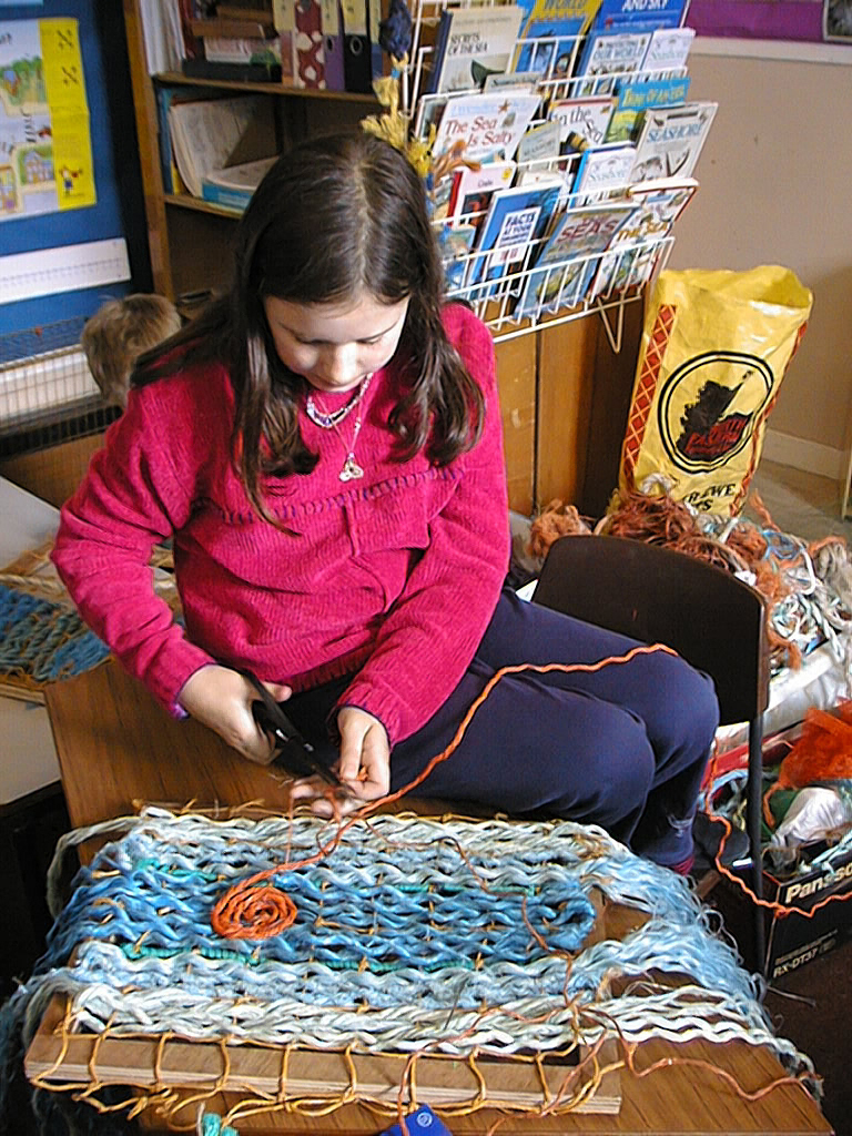 'harmony', pupil weaving her book cover