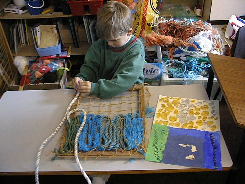 'harmony', pupil weaving his book cover