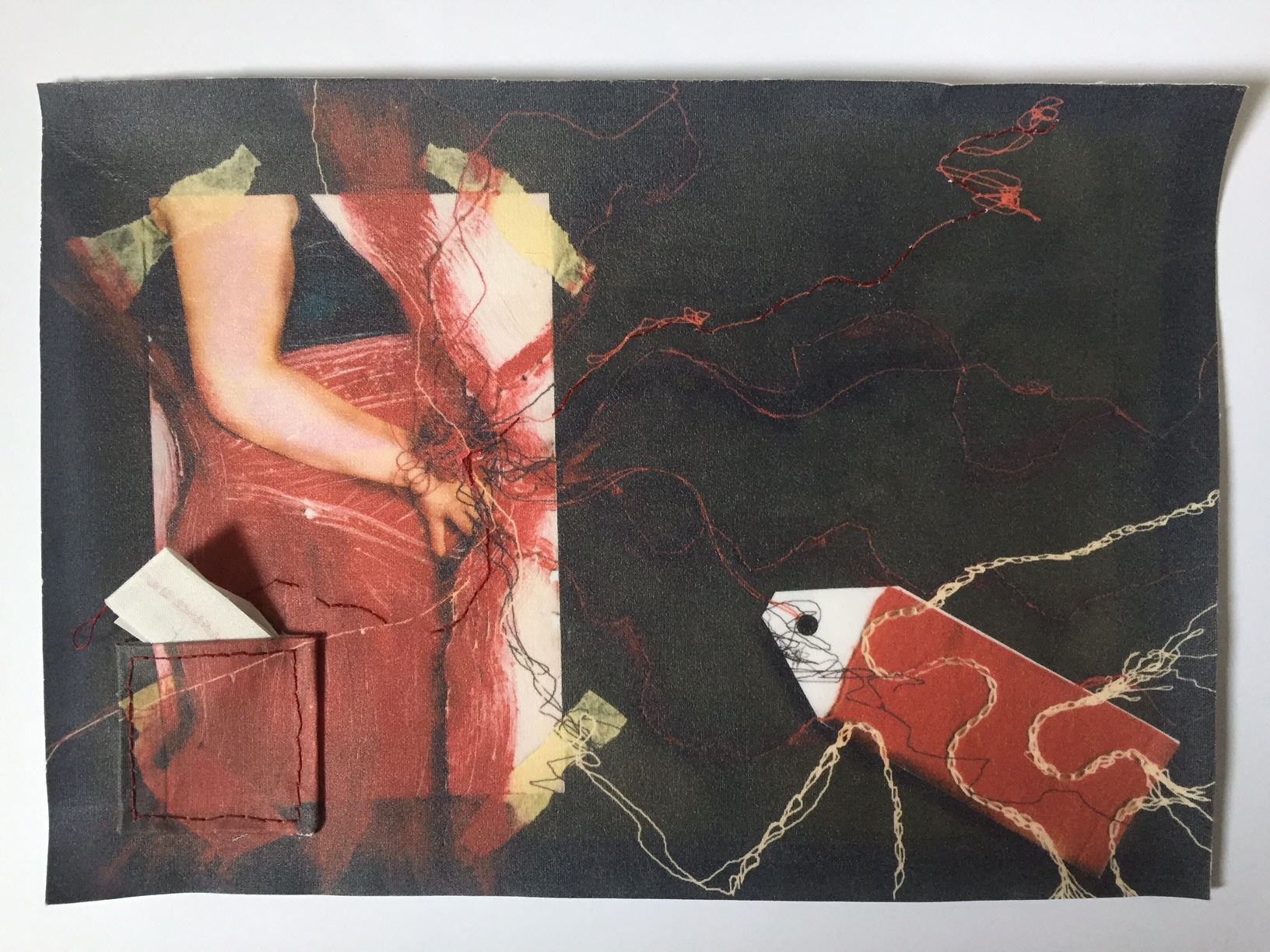 'red thread', textile print