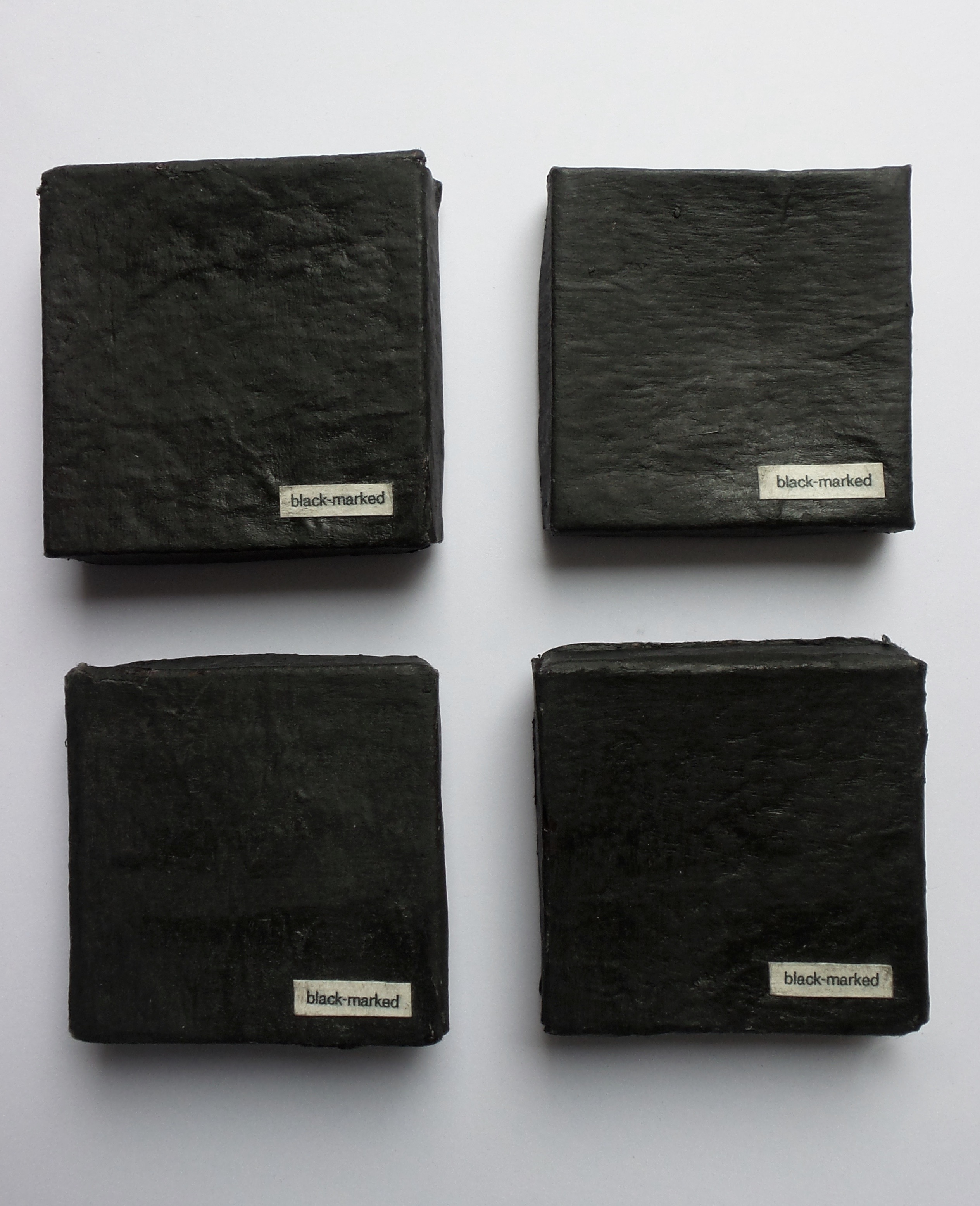 'black-marked' series | boxes | handmade paper | acrylic | 6.5cmx6.5cm | 2004