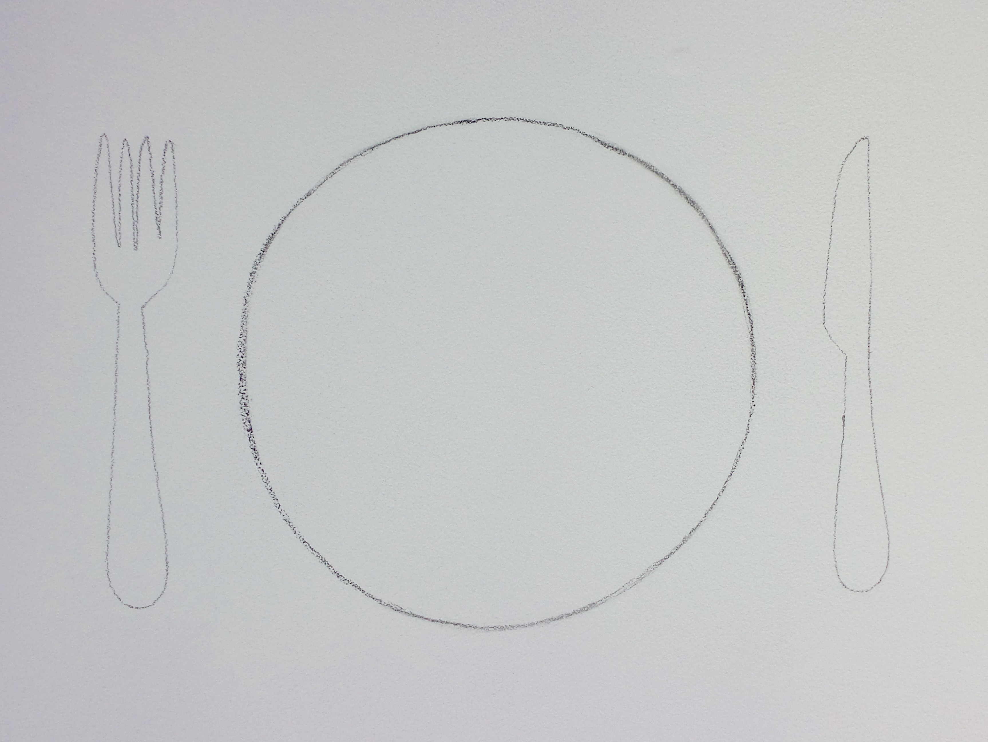 labyrinth lunch plate series - the unexpected guest | pencil drawing | 21 cm diameter