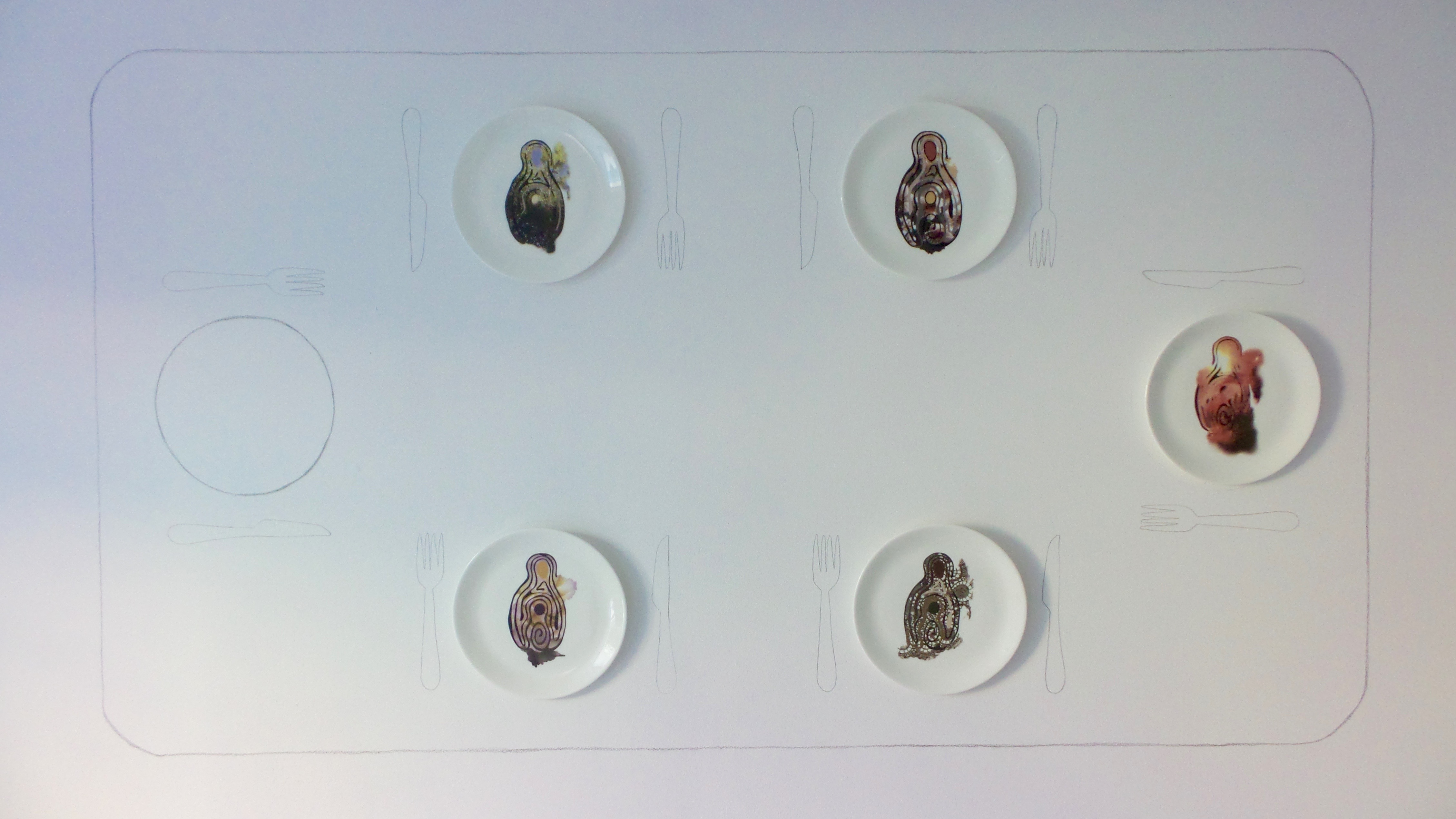 labyrinth lunch plate series  installation